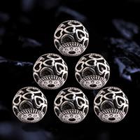 Zinklegierung hohle Perlen, rund, antik silberfarben plattiert, verschiedene Größen vorhanden, frei von Blei & Kadmium, Bohrung:ca. 1.5mm, 10PCs/Tasche, verkauft von Tasche