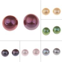 Natürliche kultivierte Süßwasserperlen Perle, halbgebohrt, keine, 9-9.5mm, Bohrung:ca. 0.8mm, verkauft von Paar
