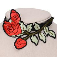Stickerei Choker, Stoff, mit Zinklegierung, mit Verlängerungskettchen von 6cm, Blume, farbenfroh, 100mm, verkauft per ca. 12 ZollInch Strang