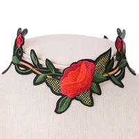 Stickerei Choker, Stoff, mit Zinklegierung, mit Verlängerungskettchen von 6cm, Blume, farbenfroh, 60mm, verkauft per ca. 12.5 ZollInch Strang