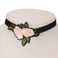Stickerei Choker, Stoff, mit Zinklegierung, mit Verlängerungskettchen von 6cm, Blume, farbenfroh, 70mm, verkauft per ca. 12.5 ZollInch Strang