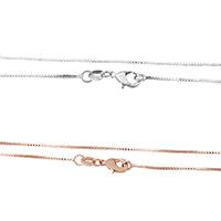 Messingkette Halskette, Messing, plattiert, Hohe Qualität überzogen und verblassen nie & Kastenkette, keine, frei von Nickel, Blei & Kadmium, 0.80x0.80mm, Länge:ca. 18 ZollInch, 10SträngeStrang/Menge, verkauft von Menge