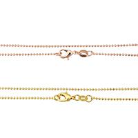 Messingkette Halskette, Messing, plattiert, Hohe Qualität überzogen und verblassen nie & Kugelkette, keine, frei von Nickel, Blei & Kadmium, 1x1x1mm, Länge:ca. 18 ZollInch, 10SträngeStrang/Menge, verkauft von Menge