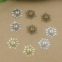 Messing Perlenkappe, Blume, plattiert, keine, frei von Nickel, Blei & Kadmium, 13mm, Bohrung:ca. 1.5mm, 400PCs/Tasche, verkauft von Tasche