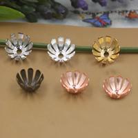 Messing Perlenkappe, Blume, plattiert, keine, frei von Nickel, Blei & Kadmium, 13x5mm, Bohrung:ca. 1.5mm, 200PCs/Tasche, verkauft von Tasche