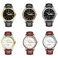 ONTHEEDGE®-Männer-Schmuck-Uhren, Kuhhaut, mit Glas & 316 Edelstahl, plattiert, einstellbar & für den Menschen & wasserdicht, keine, frei von Nickel, Blei & Kadmium, 38x10mm, 18mm, Länge:ca. 9.8 ZollInch, verkauft von PC