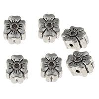 Zinklegierung Perlen Einstellung, Blume, antik silberfarben plattiert, frei von Blei & Kadmium, 10x12x7mm, Bohrung:ca. 1.5mm, Innendurchmesser:ca. 1.5mm, ca. 35PCs/Tasche, verkauft von Tasche