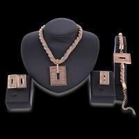 Mesh Stardust Schmuck Set, Fingerring & Armband & Ohrring & Halskette, Zinklegierung, Edelstahl Stecker, mit Verlängerungskettchen von 5cm, plattiert, Maschen-Kette, frei von Blei & Kadmium, 22x18mm, Größe:8, Länge:ca. 7 ZollInch, ca. 15.5 ZollInch, verkauft von setzen