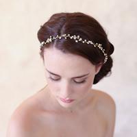 Braut Haarband, Zinklegierung, mit Satinband, goldfarben plattiert, für Braut & mit Strass, frei von Blei & Kadmium, 80-100mm, verkauft von PC