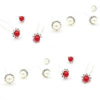 Zinklegierung Haar Stöcke, mit ABS-Kunststoff-Perlen, Platinfarbe platiniert, für Braut & mit Strass, frei von Blei & Kadmium, 13x70mm, 3PCs/Tasche, verkauft von Tasche