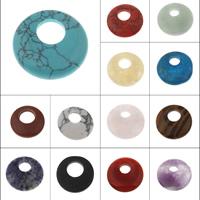 Edelstein Schmuckperlen, flache Runde, verschiedenen Materialien für die Wahl & großes Loch, 30x6.5-27x4.5mm, Bohrung:ca. 8-2mm, verkauft von PC
