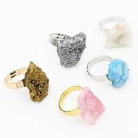 Eisquarz Achat Open -Finger-Ring, mit Messing, plattiert, druzy Stil & einstellbar & für Frau, gemischte Farben, 20mm, Größe:6.5, 3PCs/Tasche, verkauft von Tasche
