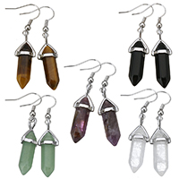 Edelstein Ohrringe, mit Messing, silberfarben plattiert, verschiedenen Materialien für die Wahl, 48mm, 10x30x8mm, verkauft von Paar