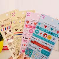 Aufkleberpapier, Papier, verschiedene Muster für Wahl & mit Brief Muster, gemischte Farben, 185x100mm, 10PCs/Tasche, verkauft von Tasche