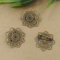 Messing Brosche Zubehör, mit Eisen, Blume, antike Bronzefarbe plattiert, frei von Nickel, Blei & Kadmium, 20x30mm, 20PCs/Tasche, verkauft von Tasche