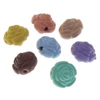 Volltonfarbe Acryl Perlen, Rose, gummierte, keine, 12x10mm, Bohrung:ca. 2mm, 500PCs/Tasche, verkauft von Tasche