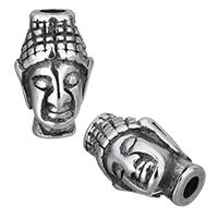 Buddhistische Perlen, Edelstahl, Buddha, Schwärzen, 9x14x9mm, Bohrung:ca. 3mm, 10PCs/Menge, verkauft von Menge