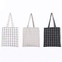 Einkaufstasche, Baumwollgewebe, Rechteck, Gittermuster, keine, 330x380mm, verkauft von PC