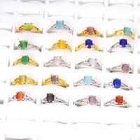 Katzen Auge Fingerring, Zinklegierung, mit Katzenauge, plattiert, für Frau, keine, frei von Blei & Kadmium, 18.5x22x8mm-21x25x8mm, Größe:5-8.5, 100PCs/Tasche, verkauft von Tasche