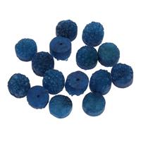 Natürliche Eis Quarz Achat Perlen, Eisquarz Achat, flache Runde, druzy Stil & kein Loch, blau, 12x8-12x10mm, 5PCs/Tasche, verkauft von Tasche