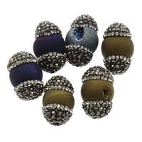 Natürliche Eis Quarz Achat Perlen, Eisquarz Achat, mit Ton, plattiert, kein Loch, gemischte Farben, 14x20mm, 5PCs/Tasche, verkauft von Tasche
