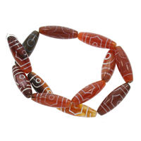 Natürliche Tibetan Achat Dzi Perlen, 10x30mm, Bohrung:ca. 1mm, ca. 12PCs/Strang, verkauft per ca. 14.5 ZollInch Strang