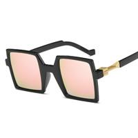 Art- und WeiseSonnenbrillen , PC Kunststoff, mit PC Kunststofflinse & Zinklegierung, Quadrat, goldfarben plattiert, unisex, keine, 140x48x150mm, verkauft von PC