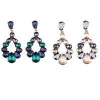 Kristall Ohrringe, Zinklegierung, mit Kristall, Messing Stecker, goldfarben plattiert, für Frau & facettierte, keine, frei von Nickel, Blei & Kadmium, 28x55mm, verkauft von Paar