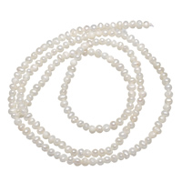 Natürliche Süßwasser, lose Perlen, Natürliche kultivierte Süßwasserperlen, weiß, 2-3mm, Bohrung:ca. 0.8mm, verkauft per ca. 15 ZollInch Strang