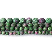 Rubin Zoisit Perle, rund, verschiedene Größen vorhanden & satiniert, Bohrung:ca. 0.5-1.5mm, Länge:ca. 15 ZollInch, verkauft von Menge