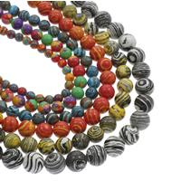 Mosaik Türkis Perle, rund, verschiedene Größen vorhanden, keine, Bohrung:ca. 1mm, verkauft per ca. 14.5 ZollInch Strang