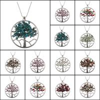 Baum des Lebens-Halskette, Messing, mit Edelstein, antik silberfarben plattiert, verschiedenen Materialien für die Wahl & Kugelkette & für Frau, frei von Blei & Kadmium, 57x62x6mm, verkauft per ca. 22 ZollInch Strang
