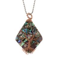 Baum des Lebens-Halskette, Messing, mit Seeohr Muschel, plattiert, Kugelkette & für Frau, frei von Blei & Kadmium, 33x54x9mm, verkauft per ca. 22 ZollInch Strang