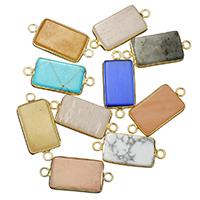 Edelstein-Connector, Edelstein, mit Messing, Rechteck, goldfarben plattiert, verschiedenen Materialien für die Wahl & 1/1-Schleife, 13x30x4mm, Bohrung:ca. 2mm, verkauft von PC