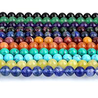 Edelstein Schmuckperlen, rund, verschiedenen Materialien für die Wahl, 6mm, Bohrung:ca. 0.5mm, ca. 63PCs/Strang, verkauft per ca. 15 ZollInch Strang