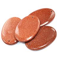 Goldsandstein Anhänger, Goldsand, flachoval, natürlich, 35x55x6mm, 10PCs/Menge, verkauft von Menge