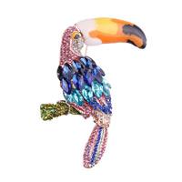 Kristall Brosche, Zinklegierung, mit Kristall, Vogel, goldfarben plattiert, für Frau & Emaille & facettierte & mit Strass, frei von Nickel, Blei & Kadmium, 40x85mm, verkauft von PC