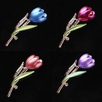 Zinklegierung Broschen, Blume, plattiert, für Frau & Emaille & mit Strass, keine, frei von Blei & Kadmium, 15x55mm, 3PCs/Tasche, verkauft von Tasche