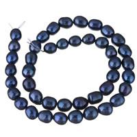Keshi kultivierte Süßwasserperlen, Natürliche kultivierte Süßwasserperlen, Keishi, blau, 8-9mm, Bohrung:ca. 0.8mm, verkauft per ca. 15 ZollInch Strang