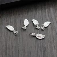 925 Sterling Silber Anhänger, Blatt, 6x14mm, Bohrung:ca. 2mm, 20PCs/Menge, verkauft von Menge