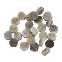 Natürliche Eis Quarz Achat Perlen, Eisquarz Achat, flache Runde, druzy Stil, 8x4mm-9x5mm, Bohrung:ca. 1mm, verkauft von PC