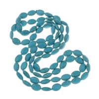 Synthetische Türkis Pullover Halskette, oval, 10x14x6mm, verkauft per ca. 46 ZollInch Strang
