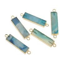 Streifen Achat Schmuckverbinder, mit Zinklegierung, Rechteck, goldfarben plattiert, 1/1-Schleife, blau, 45x10x5mm, Bohrung:ca. 2mm, ca. 5PCs/Tasche, verkauft von Tasche
