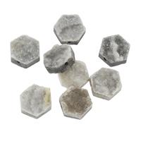 Natürliche Eis Quarz Achat Perlen, Eisquarz Achat, mit Zinklegierung, Sechseck, plattiert, druzy Stil & verschiedene Größen vorhanden, Bohrung:ca. 1mm, ca. 5PCs/Tasche, verkauft von Tasche