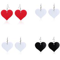Acryl Tropfen Ohrring, Edelstahl Haken, Herz, keine, 37x50mm, verkauft von Paar