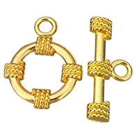 Zinklegierung Knebelverschluss, goldfarben plattiert, frei von Nickel, Blei & Kadmium, 16x20x2.5mm, 9x22x3.5mm, Bohrung:ca. 2.5mm, 100SetsSatz/Menge, verkauft von Menge