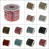 PU Leder Schnur, mit Kunststoffspule, verschiedene Muster für Wahl, 5x3mm, 5HofHof/Spule, verkauft von Spule