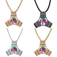 Finger Hand Fidget Spinner Gyroskop Halskette, Zinklegierung, mit PU Leder, mit Verlängerungskettchen von 5cm, plattiert, unisex, keine, frei von Blei & Kadmium, 55mm, verkauft per ca. 17.5 ZollInch Strang