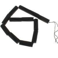 Natürliche schwarze Achat Perlen, Schwarzer Achat, Zylinder, 34x12mm, Bohrung:ca. 1mm, ca. 12PCs/Strang, verkauft per ca. 15.5 ZollInch Strang