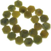 Zitronen Jade Perle, Sechseck, 16x18x4.50mm, Bohrung:ca. 1mm, ca. 23PCs/Strang, verkauft per ca. 14.5 ZollInch Strang